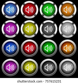 Volume white icons in round glossy buttons with steel frames on black background. The buttons are in two different styles and eight colors.