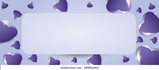 Volumetric  3D hearts on a lilac background. Vector background for happy women, mothers, Valentine's day, greeting card design.