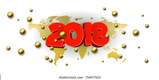 Volumetric 3d inscription 2018 and happy new year, yellow color, design element for calendar or catalog.  Golden balls and a gold world map.