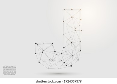 Volumetric 3D letters dark gray on a white background. Consist of triangles, circles, lines, points and spider webs. Vector illustration eps 10.