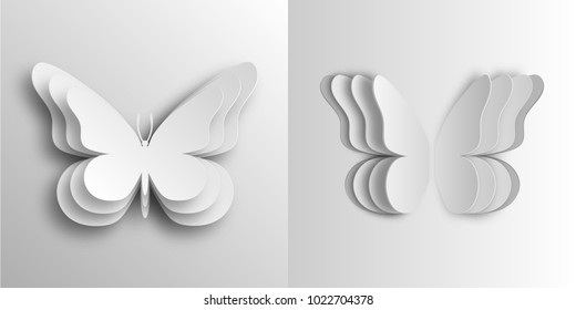 Volumetric butterflies in paper style made of cardboard. In two versions. 10 eps