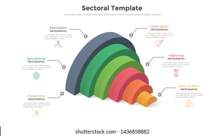 Volumetric diagram with six colorful semi-circular elements and place for text. Concept of 6 levels or stages of startup development progress. Modern infographic design template. Vector illustration.