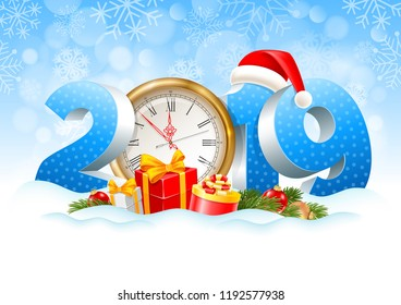 Volumetric digits 2019 and golden clock, gifts, spruce branches, christmas toys in the snow. Winter snowy background. Christmas and New Year festive design. Vector illustration.