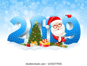 Volumetric digits 2019, Santa Claus, gifts, spruce branches, christmas toys and decorated fir tree in the snow. Winter snowy background. Christmas and New Year festive design. Vector illustration.