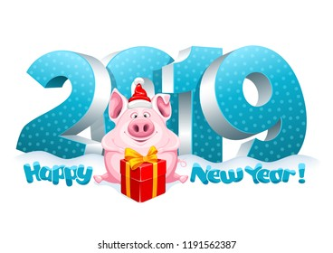 Volumetric digits 2019 in the snow and cute fun pig, zodiac symbol of the 2019 Year, with gift box. Cheerful inscription Happy New Year. Vector illustration.