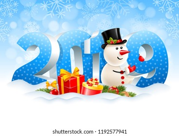 Volumetric digits 2019 and snowman, gifts, spruce branches, christmas toys in the snow. Winter snowy background. Christmas and New Year festive design. Vector illustration.