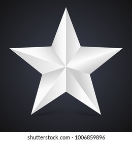 Volumetric five-pointed star with shadow. Icon of classic white star on black background, 3D illustration.