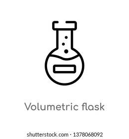 volumetric flask vector line icon. Simple element illustration. volumetric flask outline icon from science concept. Can be used for web and mobile