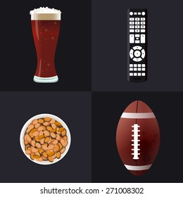 Volumetric icons on a dark background TV Remote, beer bottle, bowl of nuts and an American style football