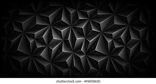 Volumetric polygonal black pattern. Vector luxury abstract grey background. Dark horizontal modern dynamic fond. Repeating geometric.