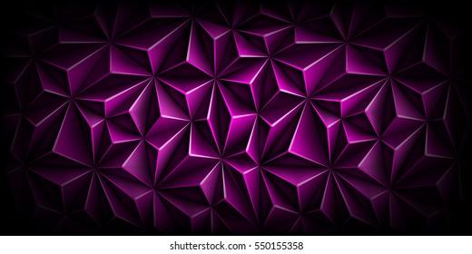 体积多边形深洋红图案。 矢量豪华抽象紫色背景. 现代水平紫动态喜欢。 三角形