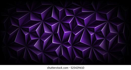 Volumetric polygonal dark purple pattern. Vector luxury abstract background. Modern horizontal dynamic violet fond. Triangle