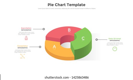 Volumetric ring-like pie chart divided into 3 sectors or pieces. Comparison of three parts of business project. Realistic infographic design template. Creative vector illustration for presentation.