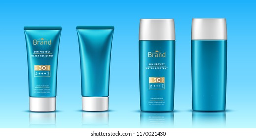 Volumetric tubes with sunscreen cream or realistic 3d plastic container as packaging template. Advertising for gel or lotion for beach. Skincare and branding, packaging and facial protection theme