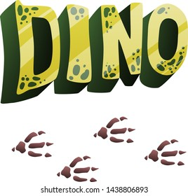volumetric word dino with imitation of the skin of a dinosaur in green and yellow color, in a cartoon style with gradients, and dinosaur footprints are brown three-fingered, isolated on a white backgr