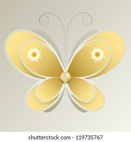 Volumetric yellow butterfly with flowers on the wings