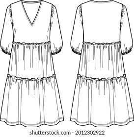 Voluminous maxi fashion dress, trendy dress with frills vector sketch, v-neck dress fashion CAD, technical drawing, flat. Jersey or woven fabric dress with front, back view, white color