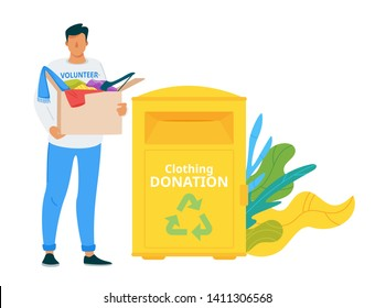 Voluntary center donation box flat vector illustration. Used clothes sharing and recycling urban system. Homeless, people in need social help and care. Male volunteer bringing second hand garment