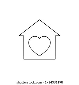 Voluntary center vector illustration isolated on white background. Heart in the house. Charity, donation icon.