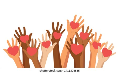 Voluntary, charity and donation flat vector illustration. Volunteers, social workers holding hearts in palms. Group of people raising hands. Unity in diversity. Social help for people in need clipart