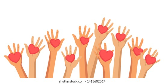 Voluntary and charity flat vector illustration. Volunteers, social workers holding hearts in palms. Group of people raising hands. Society unity, togetherness. Donation, social help for people in need