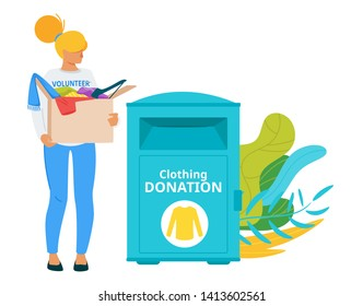 Voluntary clothing donation box flat vector illustration. Used garment sharing urban modern system. Homeless, poor, people in need social help. Female volunteer bringing second hand clothes