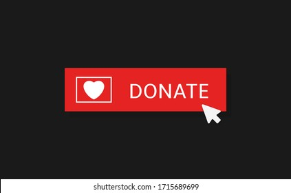 Voluntary and donation concept. Donate button icon. Red button with white heart symbol on black background