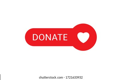 Voluntary and donation concept. Donate button icon. Red button with white heart symbol isolated
