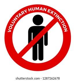 Voluntary human extinction - negative attitude towards humankind, mankind and human existence. Vector illustration