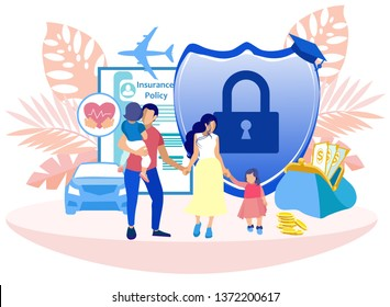Voluntary Medical Insurance Programs Cartoon. Medical Life and Health Insurance for Parents and Children. Cost Savings for Whole Family Insurance Program. Vector Illustration on White Background.