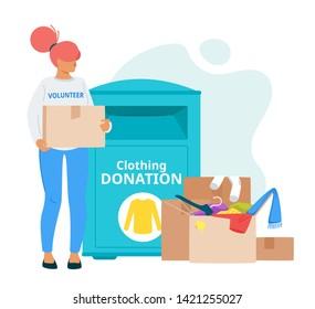 Voluntary organization, charity vector illustration. Female volunteer bringing garment to clothing donation box. Homeless, poor, people in need social help. Cardboard box with belongings