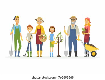 Voluntary saturday work - cartoon people characters isolated illustration on white background. Families and friends work in the garden, city park, stand with spade, plant, trolley, watering pot, rake