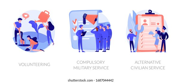 Voluntary work, country protection, employment industry icons set. Volunteering, compulsory military service, alternative civilian service metaphors. Vector isolated concept metaphor illustrations