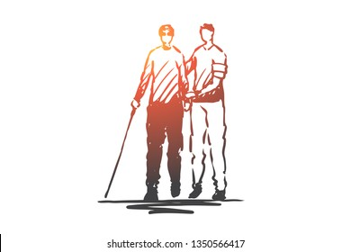 Volunteer, adult, care, blind, help concept. Hand drawn volunteer helps blind person to go concept sketch. Isolated vector illustration.