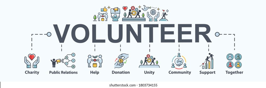 Volunteer banner web icon for association and charity, public relation, help, donation, assistant, community, joy and support. Minimal cartoon vector infographic.