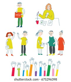 Volunteer and charity set with people, vector graphic illustration