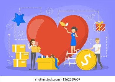 Volunteer concept. Idea of support and charity. Helpful people volunteering. Participating in voluntary activity. Vector illustration in cartoon style