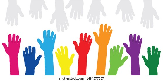 Volunteer day Volunteering voting Help Hand palm print of person baby child prints finger fun funny happy sign mains boy girl coming soon vector drawn fingers painted stamp painted Handprint Paint