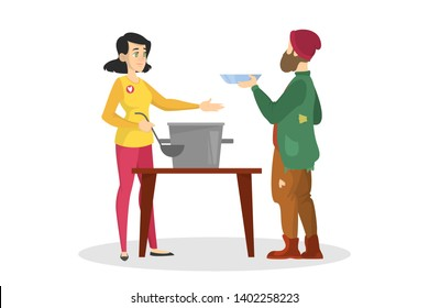 Volunteer feed homeless man. Help and support. Woman with a soup in the pot. Generous girl volunteering. Isolated vector cartoon illustration