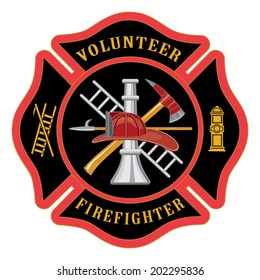Volunteer Firefighter Maltese Cross is an illustration of the firefighter or fire department Maltese cross symbol for volunteer firefighters. Includes firefighter tools symbol.