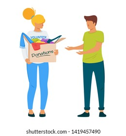 Volunteer giving clothing donations flat illustration. Social worker and homeless person vector characters. Voluntary service, charity, mercy. Woman holding cardboard box with belongings