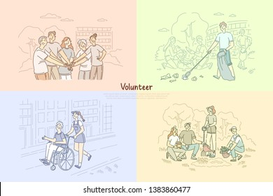 Volunteer group, social workers planting trees, cleaning park area, caregivers helping senior people banner template