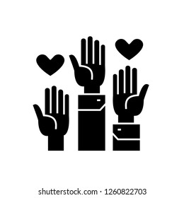 Volunteer hands black vector concept icon. Volunteer hands flat illustration, sign
