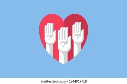 Volunteer hands in a heart illustration