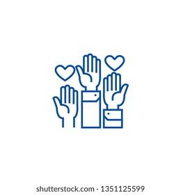 Volunteer hands line icon concept. Volunteer hands flat  vector symbol, sign, outline illustration.