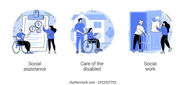 Volunteer help abstract concept vector illustration set. Social assistance, care of the disabled, social work, home nursing, caregiver support, disability care, low income, charity abstract metaphor.