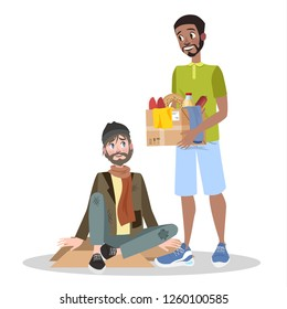 Volunteer help homeless man. Idea of charity and support. Care about people. Isolated vector flat illustration