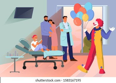 Volunteer help people concept. Charity community support little cancer patient. Clown visit a child with cancer in hospital. Vector illustration in cartoon style