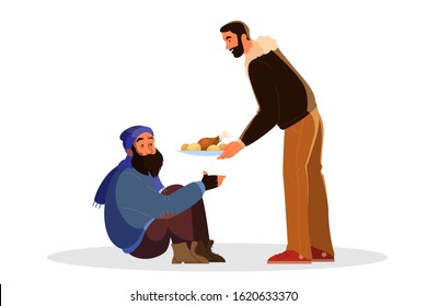 Volunteer help people idea. Charity community support homeless people, donate clothes, give a food. Idea of care and humanity. Vector illustration in cartoon style