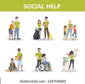 Volunteer help people set. Collection of charity community support old people, donate money and clothes. idea of care and humanity. Vector illustration in cartoon style